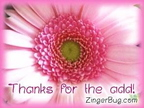 thanks for the add pink flower