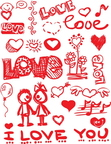 Valentines Day graffiti-style element vector images